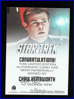 2009 Rittenhouse Star Trek The Movie Chris Hemsworth as George Kirk Auto c9a