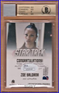 2009 Star Trek Movie Autographs #15 ZOE SALDANA as UHURA Auto Card BGS 9.5