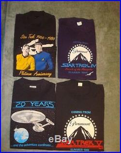 4 VTG 80s 90s STAR TREK T SHIRTS MENS LARGE & MEDIUM USA SCREEN STARS IV V MOVIE