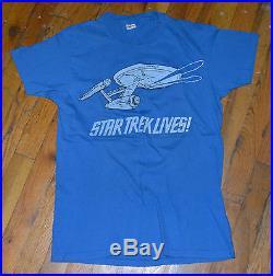 RaRe 1973 STAR TREK vtg sci-fi tv show movie shirt (M) 70s Spock Captain Kirk