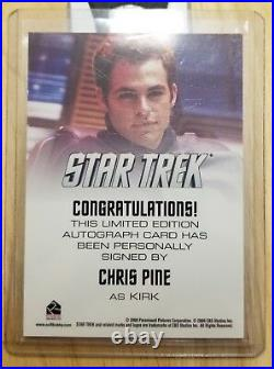 Rittenhouse Star Trek The Movie 2009 Auto Autograph Card Chris Pine as Kirk