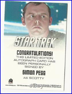 Simon Pegg as Scotty 2009 Rittenhouse STAR TREK XI Movie Autograph Card Auto