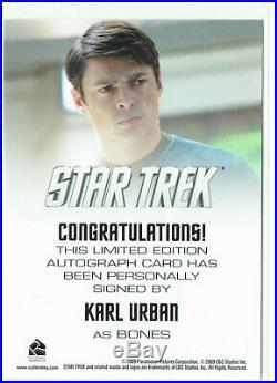 Star Trek 2009 Movie Autograph Card Karl Urban as Bones (McCoy)