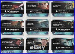 Star Trek 2009 Movie Master Set Autographs Costumes Case Incentives Rewards+++