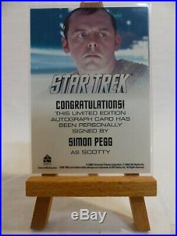 Star Trek 2009 movie trading card autograph Simon Pegg as Scotty