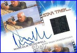 Star Trek Inflexions Movie Malcolm McDowell Soran Autograph Costume Card 15/150