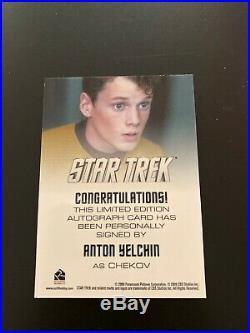 Star Trek Movie 2009 Anton Yelchin Chekov Autograph/Badge/Costume Cards