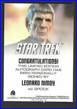 Star Trek Movie Autograph LEONARD NIMOY As Mr Spock Card Auto Signed