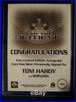 Star Trek Nemesis Movie Na3, Tom Hardy, Autograph Card, Rittenhouse