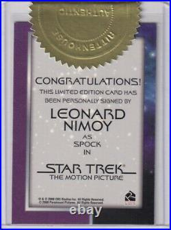 Star Trek The Motion Picture Autograph Card Leonard Nimoy as Spock