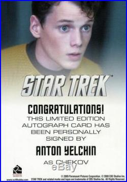 Star Trek The Movie 2009 Anton Yelchin as Chekov Limited Autograph Card