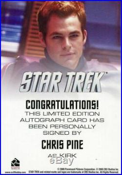 Star Trek The Movie 2009 Chris Pine as Kirk Limited Autograph Card