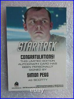 Star Trek The Movie 2009 Simon Pegg as Scotty Autograph Card