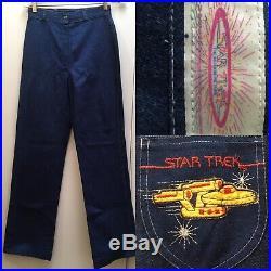 True Vtg 70s Jeans STAR TREK High Waist Denim The Motion Picture Enterprise