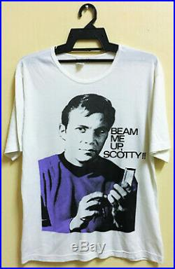 VINTAGE 70s STAR TREK BEAM ME UP, SCOTTY MOVIE SCI FI T-SHIRT DESANTIS STYLE ART