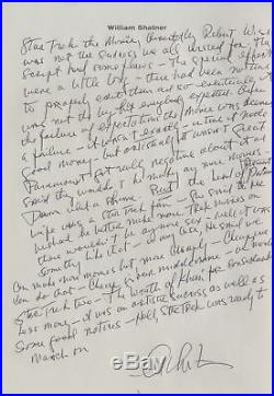 William Shatner Captain Kirk Handwritten & Signed Essay re 1st Star Trek Movie
